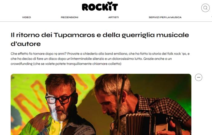 Screenshot da Rockit sul crowdfunding per Senza Paura